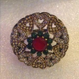 Vintage multi gem sterling ring